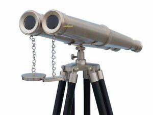 "18"" Nautical binocular Tripod Stand Watching BrassSpyglass Item Finish Chrome"