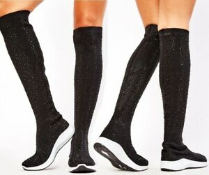 Ladies Black Thigh High Boots Womens Long The Knee Flat Pull On Sock Style Shoes