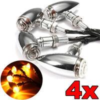 4x Indicatori Direzione Frecce Moto LED Custom Bullet Per Harley Chopper E11