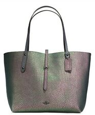NEW COACH Leather Market Tote Bag Handbag Hologram Nickel Purple