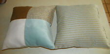 Pair of Blue Brown Patchwork Print Decorative Throw Pillows  16 x 16