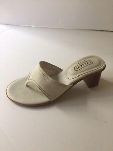 Coach Mule Sandal Thong Beige Leather Size 7 B Comfort