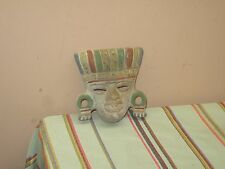 "Vintage Hand Painted Terra Cotta Aztec Clay Mask 5"" x 5"""