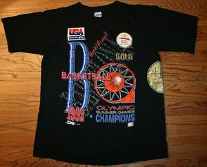 Vintage 1992 USA Olympic Dream Team Basketball Gold Champions T-Shirt Men Large