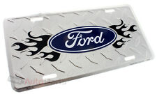 FORD LOGO LICENSE PLATE ALUMINUM CHROME DIAMOND STAMPED METAL AUTO/CAR/TRUCK TAG