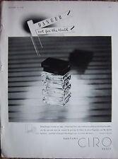1938 Vintage Parfums CIRO Danger Perfume Bottle Full page Ad