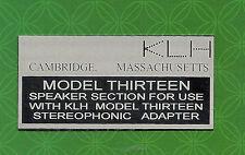 KLH MODEL THIRTEEN 13 SPEAKER METAL BACK LABEL