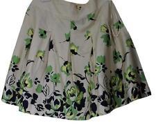 George 100% Cotton Ivory Green Floral Print Pleated Mini Size:4 Mini Skirt