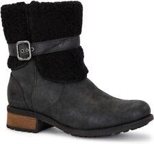 UGG II Blayre Boots Leather Short Buckle Australia Women's US Size 6 Black New