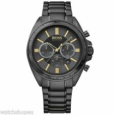 NEW HUGO BOSS 1513277 MENS BLACK DRIVER CHRONOGRAPH WATCH - 2 YEAR WARRANTY