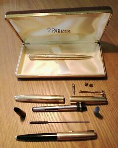 Parker 51 Aerometric 1/10 14k gold filled fountain pen + boligraph + pencil +box