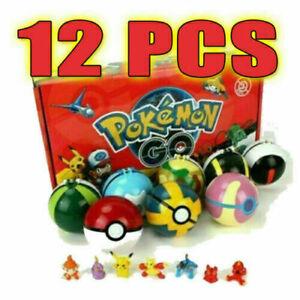 12Pcs Kids Pokemon Ball Set Pokeball GO Action Figures for Children Toys Gifts