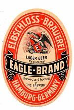 1930s ELBSCHLOSS BREWERY, HAMBURG, GERMANY EAGLE BRAND BEER LABEL