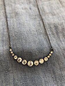 Diamanté Crescent Moon Necklace - Vintage Style BNWT