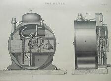 ANTIQUE PRINT C1880'S GAS METER ILLUSTRATED DIAGRAM ENGRAVING INDUSTRIAL ETCHING