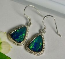 Australian Opal Earrings, Natural Opal, Silver,Drop, Dangle, Hook, Diamond, Gift