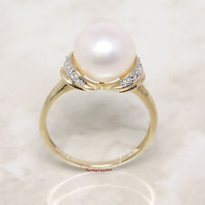 14k Solid Yellow Gold Genuine AAA White Cultured Pearl Diamond Cocktail Ring-TPJ