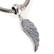 Feather Dangle Charm Bead 925 Sterling Silver