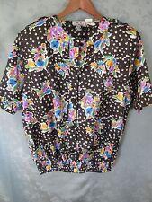 Vintage Ke Ii by Gianna Size 10 Blouse Nehru Collar Elastic Waist Epaulets