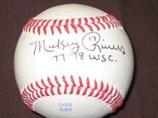 NY YANKEE LEGEND MICKEY RIVERS AUTOGRAPH BASEBALL INSCRIBED 77-78 W.S.C. W/COA