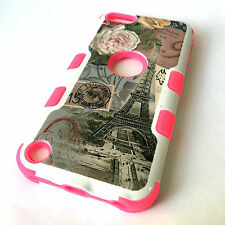 for iPod Touch 5th / 6th Gen - PINK FLOWER EIFFEL TOWER Hybrid Impact Armor Case
