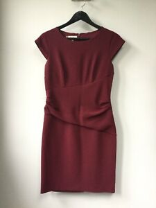 Gorgeous Ladies Hobbs Wine Rouched Shift Dress, UK Size 10, Good Condition