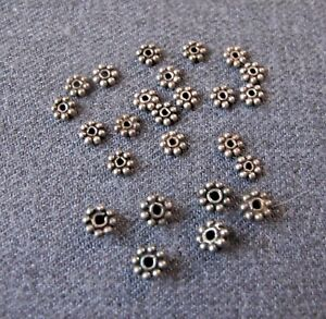 35 DARK SILVERED METAL FLOWER MINIATURE LOOSE BEADS SPACERS  FOR JEWELRY MAKING