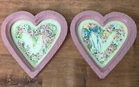 Vtg Pink Pair Barbara Mock Heart Shaped Prints Pink Blue Bow Floral Homeco Frame