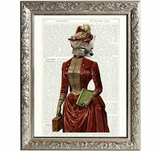 Vintage Art Print Fox Lady Original Book Page D-AN-02
