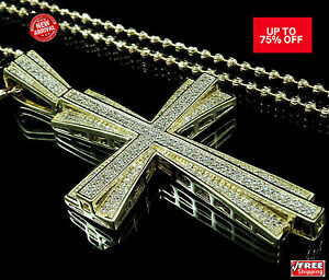 Mens Yellow Gold Finish Simulated Diamond Jesus Cross Pendant Charm W Bead Chain