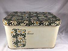 Vintage Mid Century Bread Box Tin Floral Flower Pattern