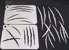 2 in 1 DIFFERENT STYLE SCRATCHES Airbrush Paint Stencils Face Body Halloween