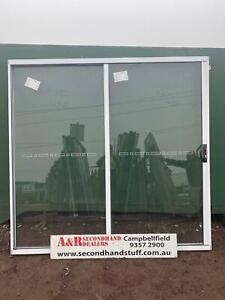 NEW ALUMINIUM SLIDING DOORS 2100h x 2200w (Approx Size) (5 Colours)