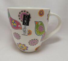 Retro Birds Flowers Coffee Mug Cup 16 oz Porcelain Multi-Color Cute Ciroa New