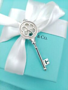 "Tiffany & Co Sterling Silver Large Crown Diamond Key Pendant 2.5"" Genuine."