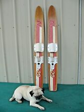 """Vintage Nash Gold Cup Series Water Skis Wood Wooden Trainer Youth 47"""""""