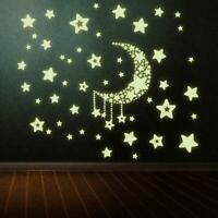 Decal Removable Home Glow In The Dark  Wall Stickers Moon and Stars Bedroom