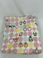 Vintage Disney Pink Little Girls Minnie Micky Goofy Twin Size Fitted Bed Sheet