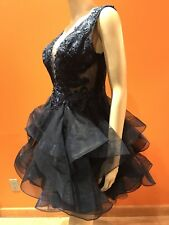 PROM PARTY  MIDNIGHT BLUE TULLE / LACE HANDBEADED DRESS Size 10 $500