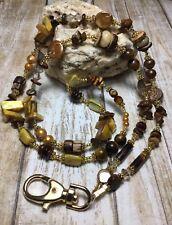 Handmade Pearl Stone ID Badge Holder/Lanyard W/Swarovski Elements & More USA