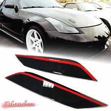 Painted Black & Red For Nissan 350Z Z33 Coupe Front Eyelids Eyebrow light Cover