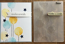 Stampin Up retired MAKE A WISH stamp & BALLOONS Embossing folder Birthday