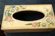 Wood flowers Handpainted Rectangle Tissue Box Cover Holder With open Bottom