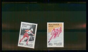 MayfairStamps Maldives 1992 Speed Skating & Cross Country Skiing Olympics MNH St