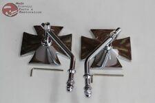Custom Chrome Motorcycle Bicycle Maltese Iron Cross Swivel Arm Handlebar Mirrors