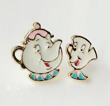 2pcs Beauty and the Beast teapot metal earrings ear stud studs new