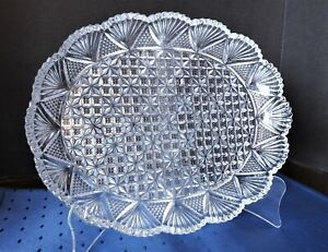 "Hoya Crystal ~ 12"" Oval Serving Dish Tray Platter ~ Gorgeous Cut Crystal"