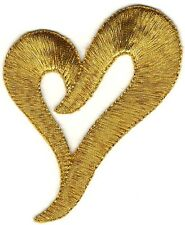 Metallic Gold Embroidery Cut Out Heart Patch
