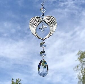 New Guardian Angel Sun Catcher ~ Silver Wings ~ Memorial ~ Loss ~ Protection