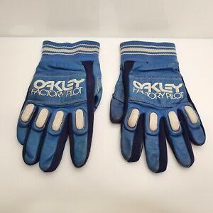 Vintage Oakley Factory Pilot Gloves MX BMX Blue Small HTF